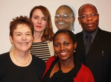 From left to right top row: Maureen Kendrick, Elizabeth Namazzi, Samson Nashon; Bottom row: Bonny Norton, Annette Tushabomwe (MA Student, Curriculum and Pedagogy)