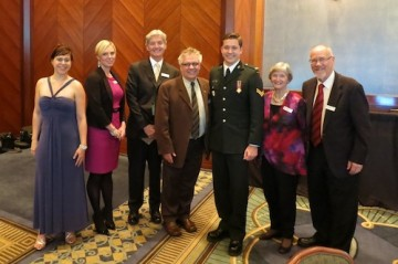 Left to right: B.Ed. Student Rep, Phaidra Ruck, Fred Hume, Dr. Blye Frank, Dean or the Faculty of Education, Tim Laidler, Executive Director of the Veterans Transition Network, Arlene Birch and Dan Birch, former Dean of Faculty of Education and Provost.