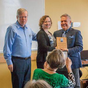 Photo: L-R: Dr. Lee Gunderson, Head ECPS, Dr. Anita Hubley, Killam Faculty Teaching Award recipient, Dean Blye Frank.