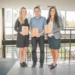 Photo: L-R: Anne Lasinsky, KIN (Killam Graduate TA award), Louai Rahal, ECPS (Faculty of Education Graduate TA award), Maryam Dalkilic, ECPS (Killam Graduate TA award).