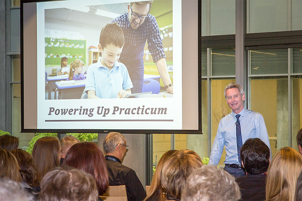 Keynote speaker Dr. Tony Clarke, Professor, UBC Faculty of Education, opened the 2017 BC Teacher Education Roundtable conference.