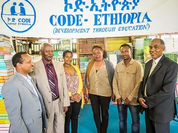 CODE-Ethiopia. L – R: Yalew Zebeke, Project Coordinator & Assessment Lead; Tesfaye Dubale, Executive Director; Kelemwork Demissie, Finance & Admin Manager; Amsale Kidane, Book Acquisition & Distribution Officer; Biniam T/mariam, Assistant Book Acquisition & Distribution Officer; and Alemu Abebe, Library Development & Management Officer.