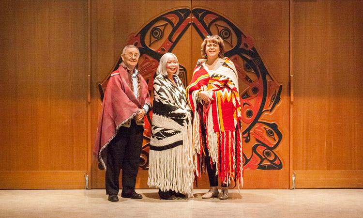 L-R: Elder Larry Grant, Professor Jo-ann Archibald, EDST, Associate Dean Indigenous Education and Professor Jan Hare, LLED.