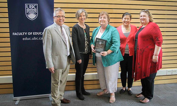 L-R: Dean Blye Frank, Associate Dean Wendy Carr, UBC Education 2017 Alumni Award recipient Bonnie Sutherland (BEd'69), Alumni Engagement Manager Denise Luong, and award nominator Majorie Stevens.