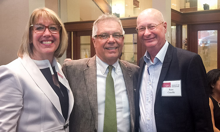 Dean Blye Frank with Ellen and Russ Cmolik at this year's ceremony for the Cmolik Prize for the Enhancement of Public Education.