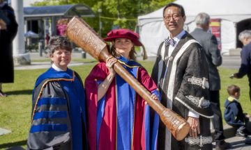 University Mace bearer Dr. Lori Miller (center), Teacher Education Office, with Dr. Pam Ratner (left), Vice-Provost and Associate Vice-President, Enrolment & Academic Facilities, and Professor Santa Ono (right), UBC President & Vice-Chancellor.