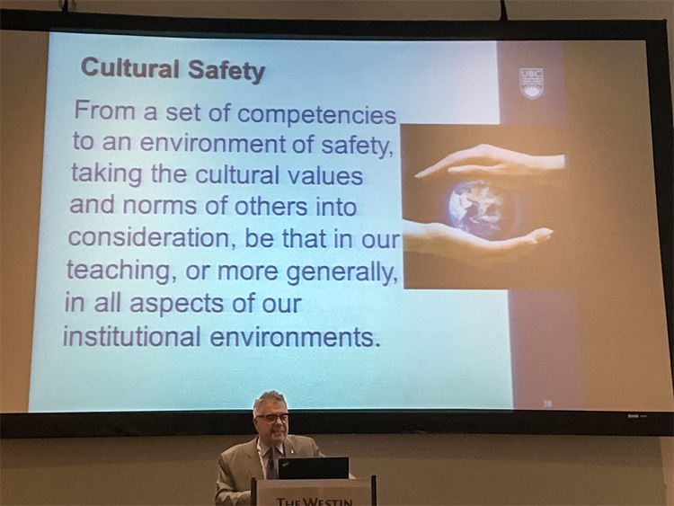 Dean Frank speaks on 'Beyond the Celebration of Diversity: Taking Difference Into Account in Leadership.' Photo: D'Arcy Deacon via Twitter.